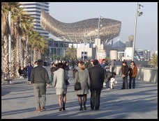 Digital photo titled barcelona-boardwalk-with-frank-gehry-awning-in-background