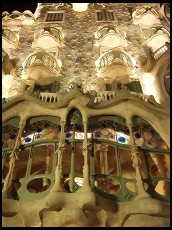 Digital photo titled casa-batllo-closeup-at-night-vertical