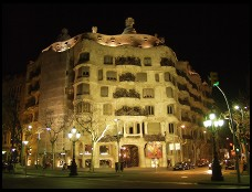 Digital photo titled casa-mila-at-night-wide