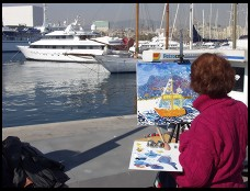 Digital photo titled painter-and-barcelona-yacht-harbor-horizontal