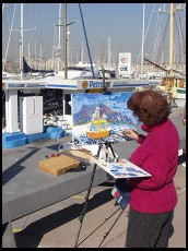 Digital photo titled painter-and-barcelona-yacht-harbor