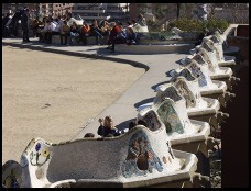 Digital photo titled parc-guell-benches-lined-up