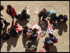 Digital photo titled parc-guell-kids-cutting-paper
