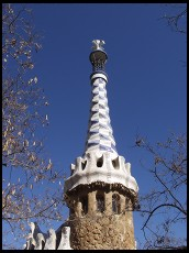 Digital photo titled parc-guell-tower-and-trees