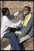Digital photo titled joginder-getting-shaved-fatehpur-sikri