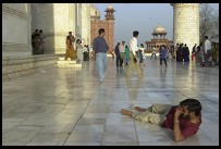 Digital photo titled photographer-lying-on-taj-mahal-patio