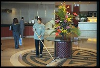Mid-day sweeping up at the China World Hotel.  Beijing