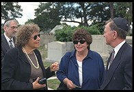 Regina and Marge at Nick Gittes's funeral.  Pride of Boston cemetery.  Woburn, Massachusetts