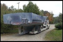 Digital photo titled hull-on-trailer-in-driveway