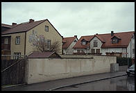 Townhouses whose backyard is the Dachau Concentration Camp.  Just outside Munich, Germany