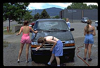 Los Alamos High School Cheerleaders Car Wash, 1994.