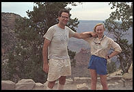 Philip and Rebecca at the top of the Bright Angel Trail, after hiking down the Kaibab to the Colorado River (down and up in one day; it was 118 degrees at the bottom).