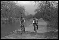Bikers on the towpath for the C&O Canal.  Along the Potomac River near Washington, D.C.  1981.