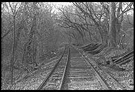 Railroad tracks near C&O Canal.  Along the Potomac River near Washington, D.C.