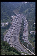 Traffic on the 405.  Los Angeles, California.  View from the Getty Center.