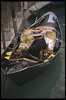 A gondolier in a quiet moment