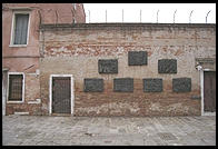 Reliefs in the Venetian ghetto depicting scenes from the Holocaust