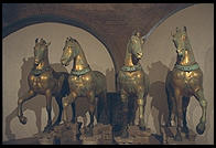 The original four horses adorning St. Mark's Cathedral (replicas are installed outside today)