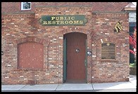 Public restrooms with historic plaque.  Placerville, California