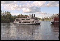 Steamboat on Sacramento River.  Downtown Sacramento, California.
