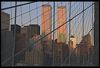 World Trade Center from the Brooklyn Bridge.  New York City.