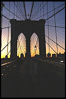 Sunrise.  Brooklyn Bridge.  New York City.