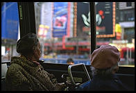New York City.  From inside a city bus.