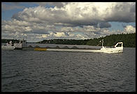 A barge, view from the steamboat Prins Carl Philip outside Stockholm