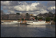 Boat, view from the steamboat Prins Carl Philip in Stockholm's harbor