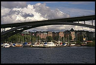 Bridge, view from the steamboat Prins Carl Philip in Stockholm's harbor