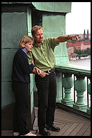A Swedish couple on Stadshuset balcony in Stockholm.  The woman was afraid of heights.