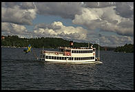 The steamboat Drottningholm, view from the steamboat Prins Carl Philip outside Stockholm
