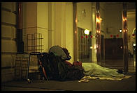 Travelers sleeping outside central train station in Stockholm (which is locked at night)