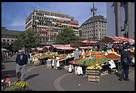 A fruit and flower market in central Stockholm