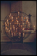 Spherical candle holder in church in Gamla Stan in central Stockholm