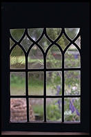 Garden through window in Skansen in Stockholm