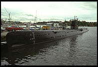 Russian submarine (museum) on Djurgarden, next to Vasamuseet.  Stockholm, Sweden