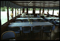 Dining room in the steamer S.S. Drottningholm.  Stockholm, Sweden
