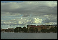 Shore of Lake Malaren from the steamer S.S. Drottningholm.  Stockholm, Sweden