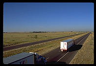 Trucks on the Interstate.  Nebraska.