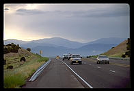 On the road to Los Alamos (New Mexico), looking back to the Sangre de Christo mountains.