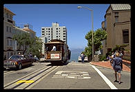 Cable Car. Top of Lombard Street, San Francisco, California.