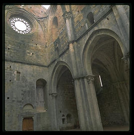 The ruined abbey of San Galgano, between Rome and Florence