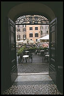 Looking out into the open-air market in the Campo de Fiori (Rome)