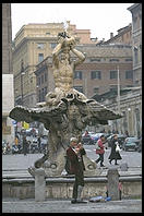 The local eccentric hanging out in front of Bernini's Fontana del Tritone in Rome's Piazza Barberini