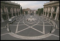 Piazza del Campidoglio, at the top of the Roman Capitol, designed by Michelangelo.