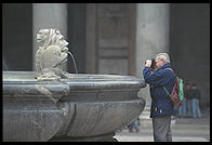 The fountain in Piazza della Rotunda, in front of Rome's Pantheon
