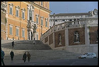 Steps leading to the Palazzo del Quirinale, once home to popes, now to the president of Italy