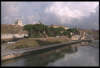 Tiber Island, home to a hospital, across from Trastevere, with Rome's synagogue in the background