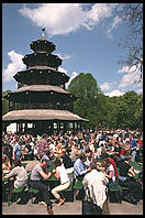 Chinese Pagoda beer garden.  English Garden. Munich.